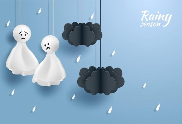 Felice monsone, sfondo stagione delle piogge Vettore Premium