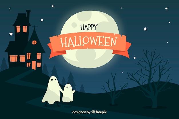 Felice nastro di halloween nella notte Vettore gratuito