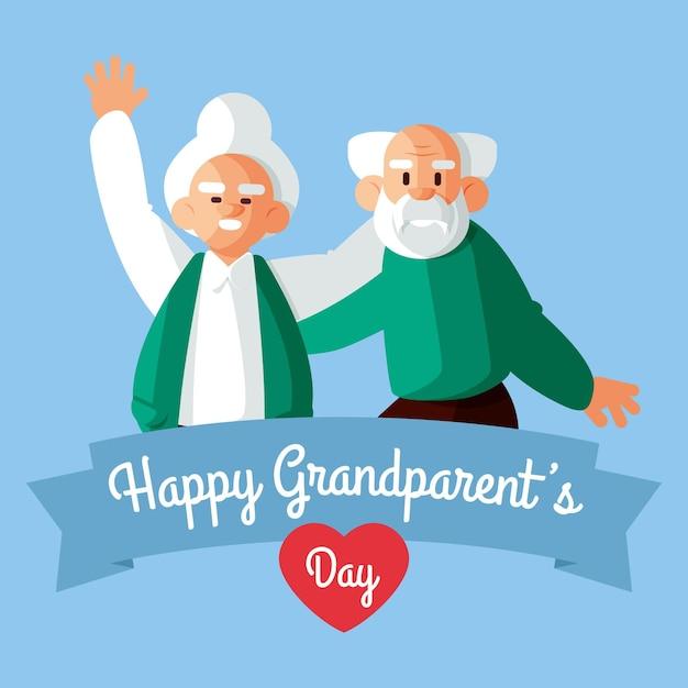 Felice nonno con coppia di anziani Vettore gratuito