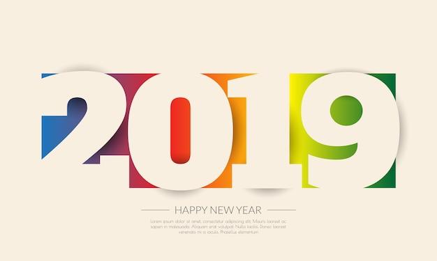 Felice nuovo anno 2019. biglietto di auguri. design colorato Vettore Premium
