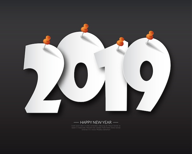 Felice nuovo anno 2019 Vettore Premium