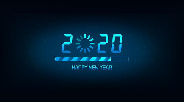 Felice nuovo anno 2020 con icona di caricamento e barra su sfondo di colore blu Vettore Premium