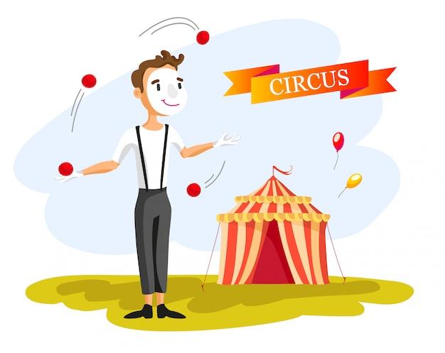 Felice pagliaccio da circo. illustrazione di cartone animato palle da giocoliere uomo. spettacolo circense. stile vintage. Vettore gratuito