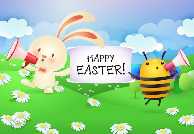 Felice pasqua lettering sul banner tenuto da coniglio e ape Vettore gratuito