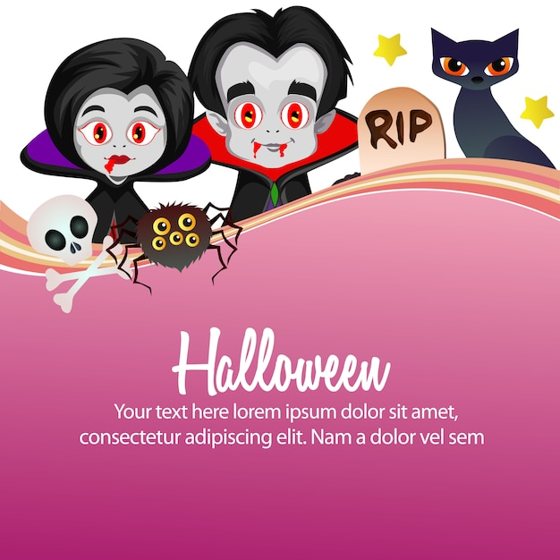 Felice personaggio dei cartoni animati di halloween vampiro