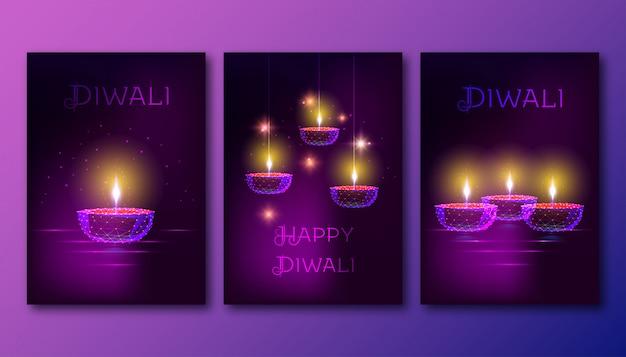 Felice poster di diwali con futuristico incandescente bassa lampada a olio poligonale diya su sfondo viola scuro. Vettore Premium
