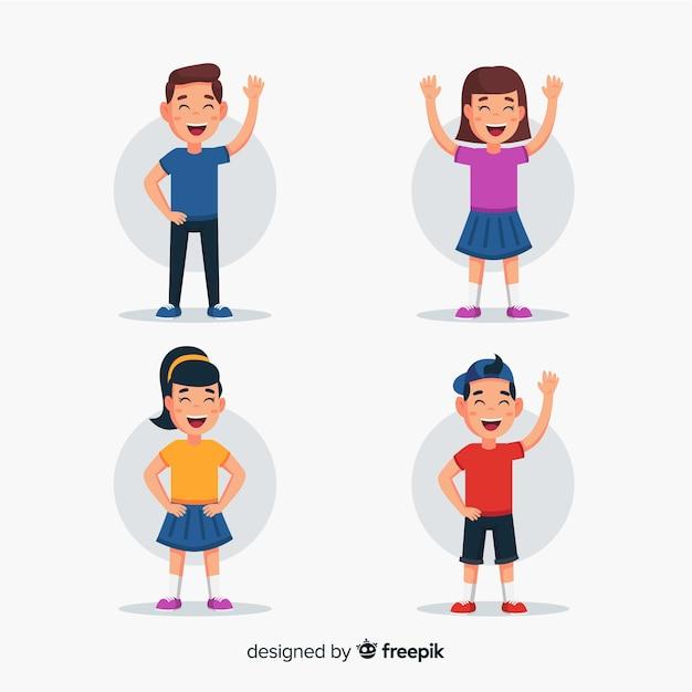 Felice raccolta di personaggi per bambini Vettore gratuito