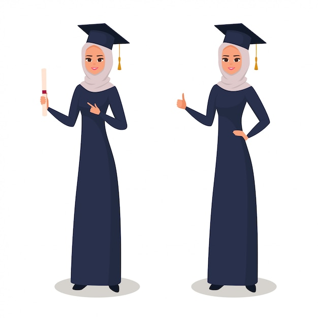 Felice ragazza araba laureata con diploma Vettore Premium