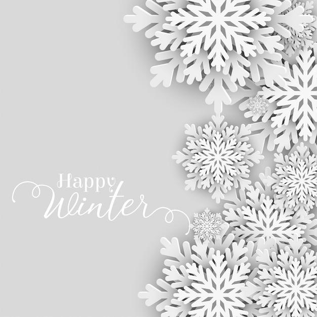 Felice saluto invernale con fiocchi di neve Vettore gratuito