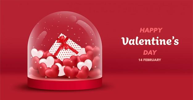 Felice san valentino banner con cuori di lusso rossi e rosa, confezione regalo in barattolo di vetro di copertura. Vettore Premium