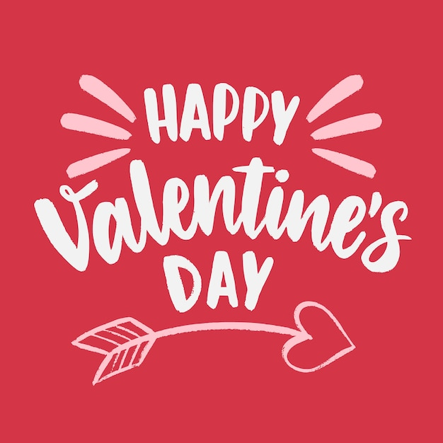 Felice san valentino scritte con freccia di cupido Vettore gratuito