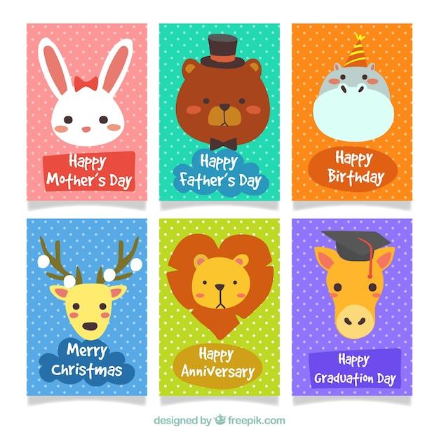Felice serie di schede animali colorati Vettore gratuito