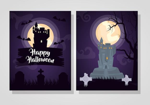 Felice set di carte di halloween Vettore gratuito