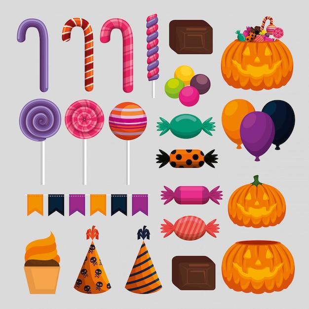 Felice set di decorazioni di halloween Vettore gratuito