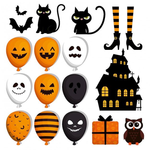 Felice set di halloween Vettore gratuito