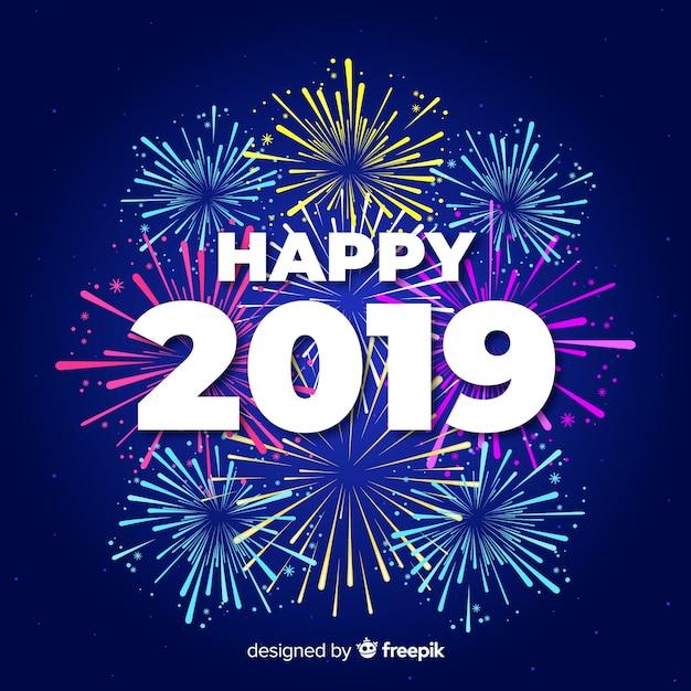 Felice sfondo 2019 Vettore gratuito