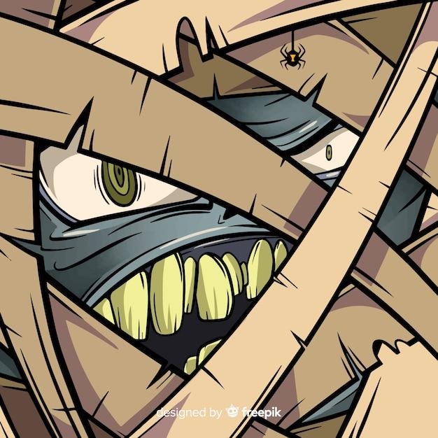 Felice sfondo di halloween con faccia mummia male Vettore gratuito