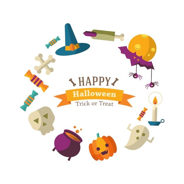 Felice sfondo di halloween con icone piatte Vettore gratuito