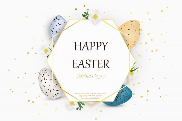Felice sfondo di pasqua con uova di pasqua decorate realistiche quaglie Vettore Premium