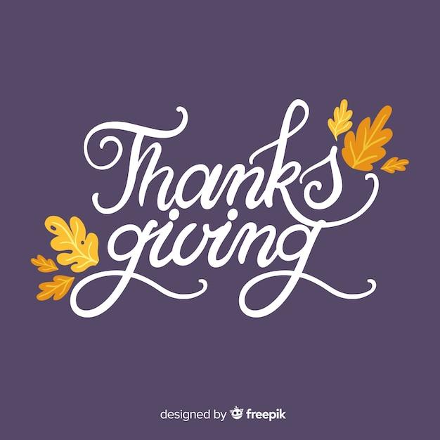 Felice sfondo di ringraziamento con scritte e foglie Vettore gratuito