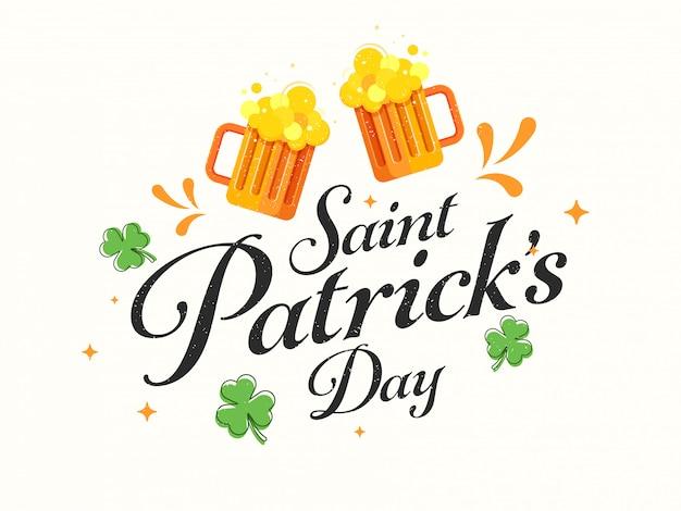 Felice st. carta del giorno di patricks con saluti boccali di birra e foglie di acetosella su bianco Vettore Premium