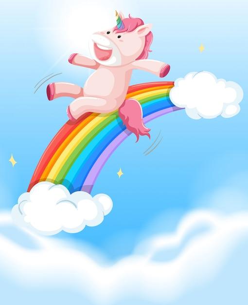 Felice unicorno sul cielo Vettore Premium