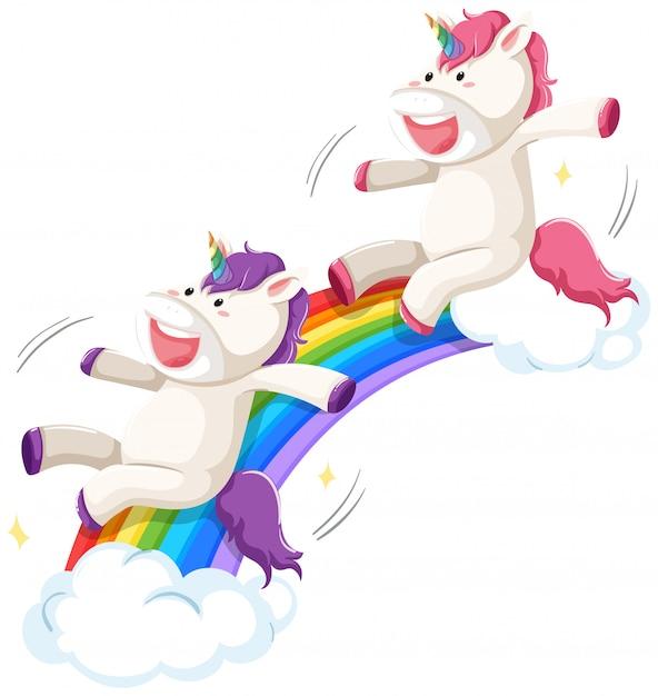 Felice unicorno sulla diapositiva arcobaleno Vettore gratuito