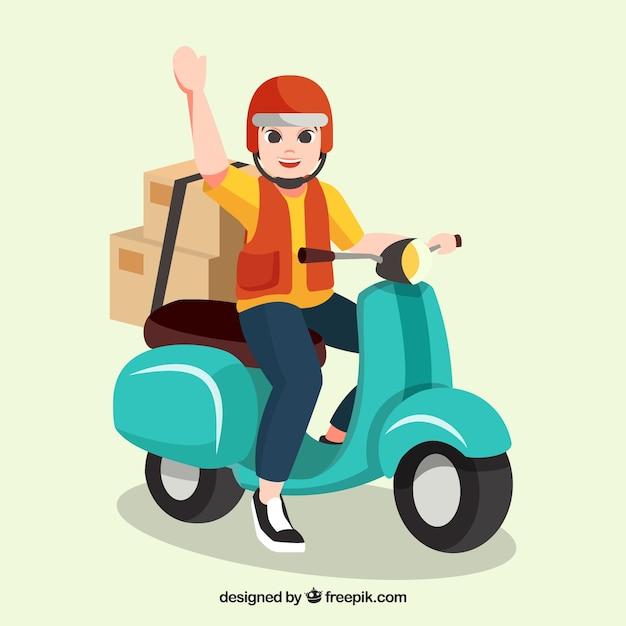 Felice uomo di consegna con casco sullo scooter Vettore gratuito