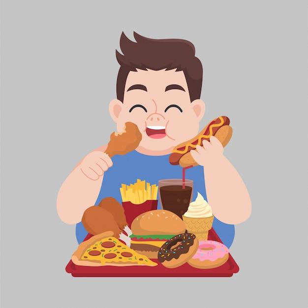 Felice uomo grasso piace mangiare cibo spazzatura Vettore Premium