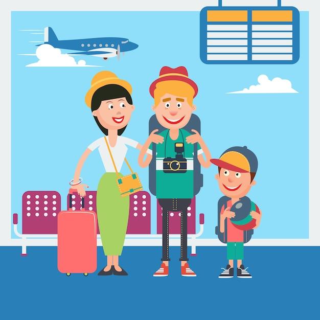 Felice vacanza in famiglia. giovane famiglia in attesa di partire in aeroporto. illustrazione vettoriale Vettore Premium
