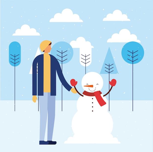 Felice vacanza invernale persone Vettore gratuito