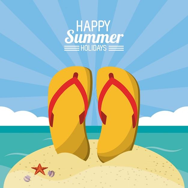 new style 6e606 7c66d Felice vacanze estive poster. infradito spiaggia di sabbia ...
