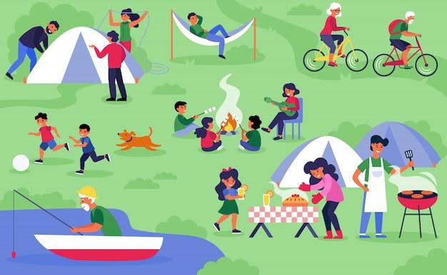 Felici diversi turisti in campeggio sulla natura Vettore gratuito
