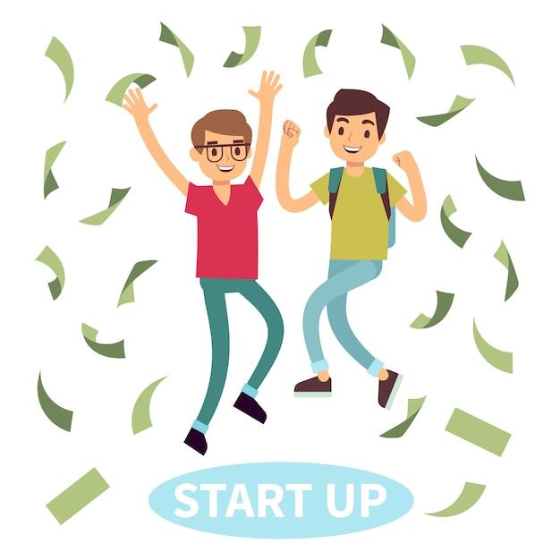 Felici studenti di successo in pioggia di soldi. start up concept Vettore Premium