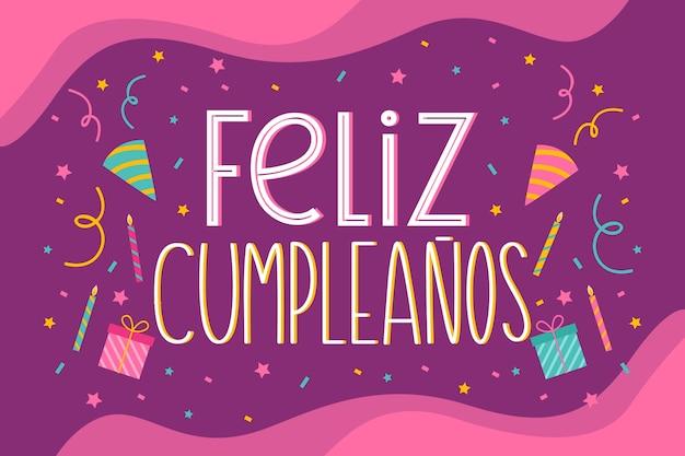Feliz cumpleaños lettering design Vettore gratuito