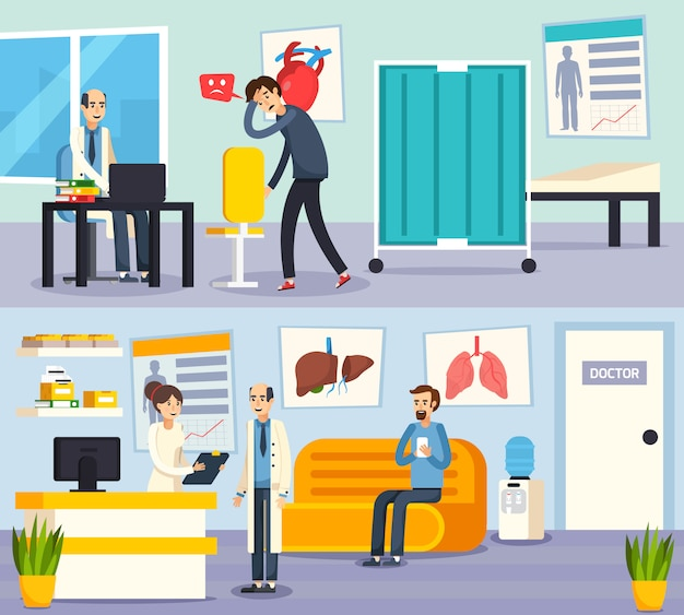 Female doctor character flat compositions Vettore gratuito