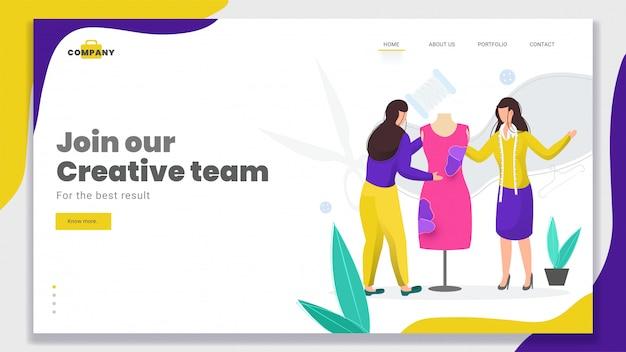 Female er produce un abito moderno per la landing page di join our creative team. Vettore Premium
