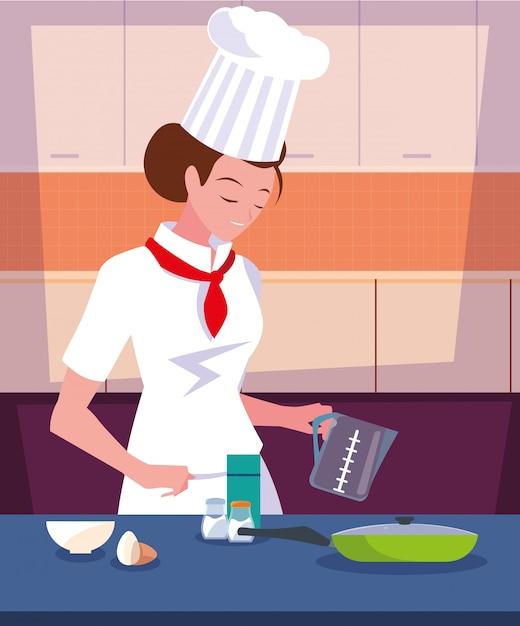 Femmina professionista del cuoco unico che cucina nella scena della cucina Vettore Premium
