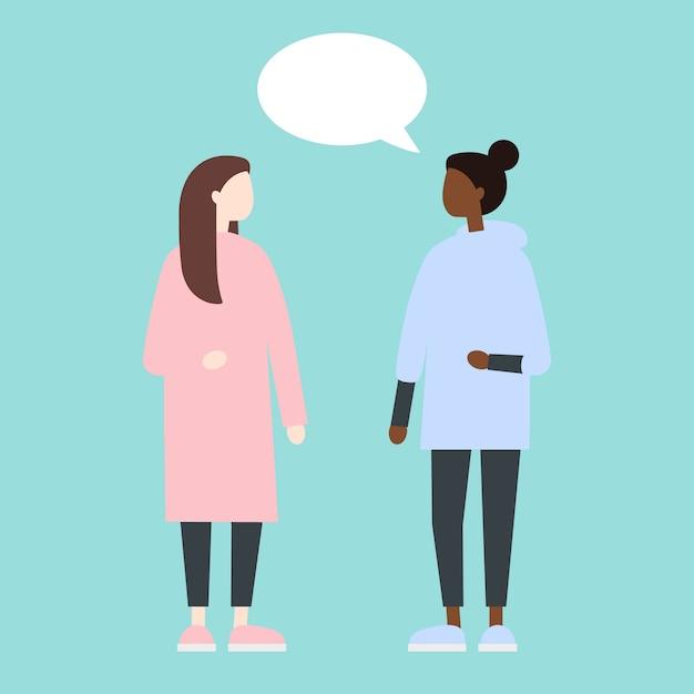 Femmine che hanno un dialogo Vettore Premium