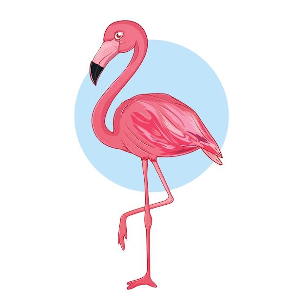 Fenicotteri divertenti in rosa Vettore Premium