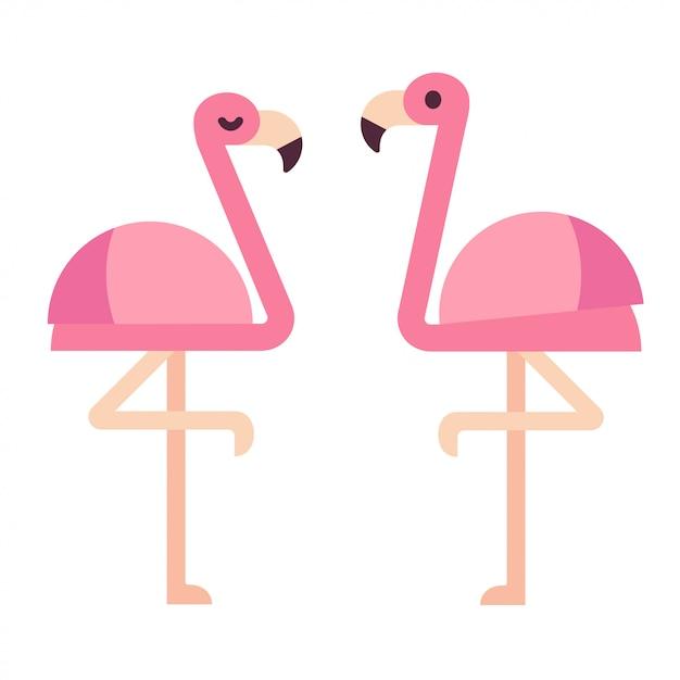 Fenicotteri rosa Vettore Premium
