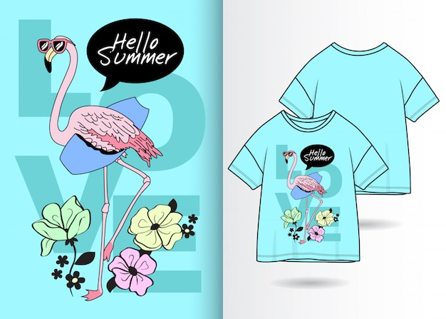 Fenicottero carino disegnato a mano con la maglietta Vettore Premium