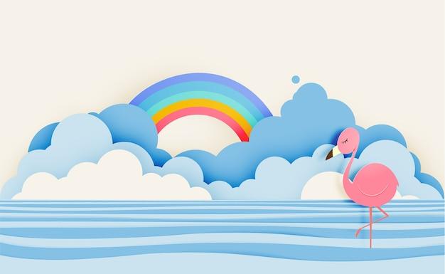 Fenicottero nello stile di carta di arte con il illustr di pastello di colore di fondo del cielo del fondo e del cielo di vettore Vettore Premium