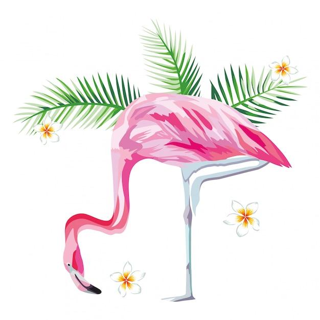 Fenicottero rosa con spiaggia di piante e fiori tropicali Vettore Premium
