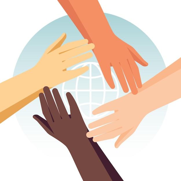Ferma il razzismo con mani diverse Vettore gratuito