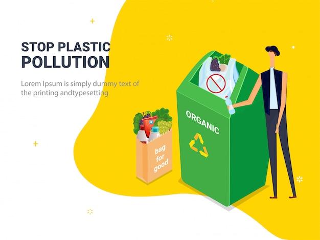 Ferma inquinamento plastico. sacchetti di plastica dell'immondizia in pattumiera con carattere uomo Vettore Premium