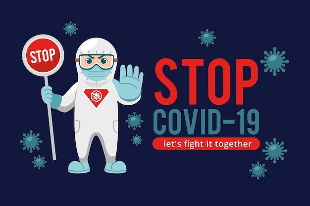 Ferma l'uomo coronavirus in tuta ignifuga Vettore gratuito