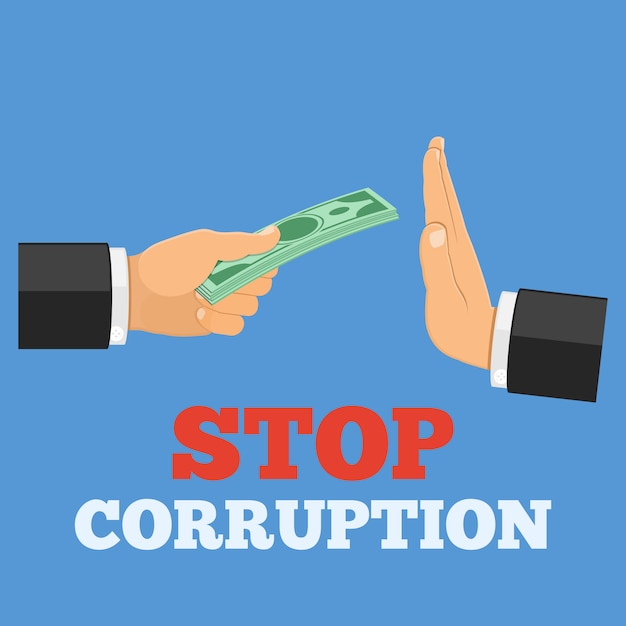 Fermare il concetto di corruzione Vettore Premium