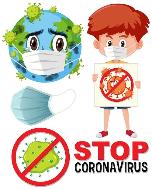 Fermare il logo del coronavirus con il personaggio dei cartoni animati della maschera che indossa la terra e il ragazzo che tiene il segno del coronavirus Vettore Premium