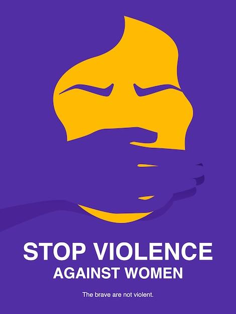 Fermare la violenza contro il manifesto del concetto di donne. Vettore Premium